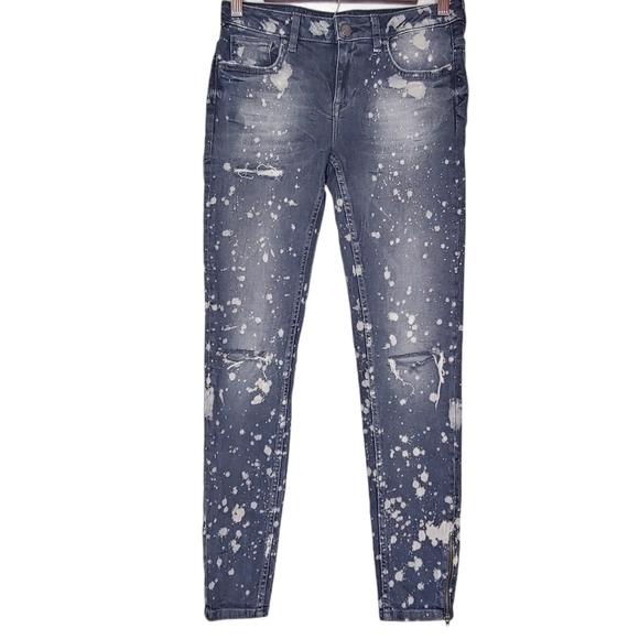 Zara Paint Splatter Distressed MID RISE Jeans 4